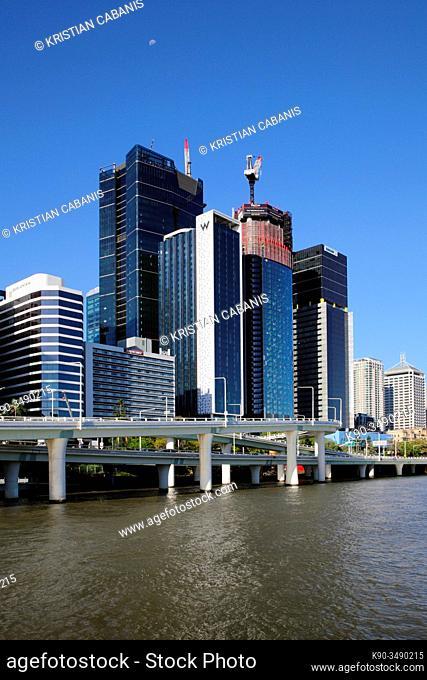 Brsibane river with buidlings of central Brisbane, Queensland, Australia