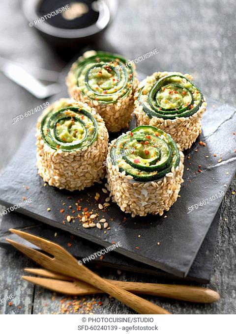 Zucchini,avocado and sesame seed makis