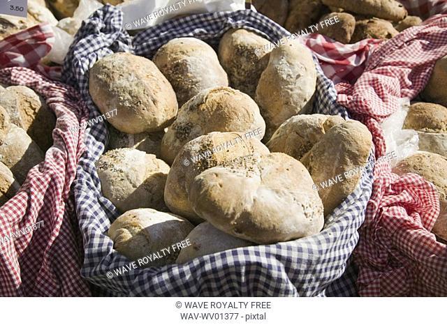 Fresh bread rolls, Saturday Market Salt Spring Island, British Columbia, Canada