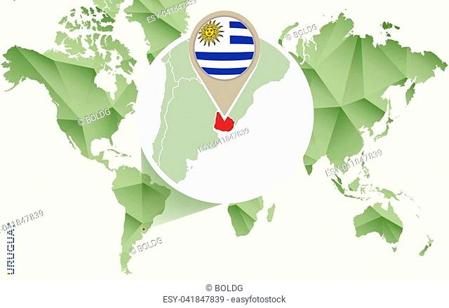 Infographic for Uruguay, detailed map of Uruguay with flag. Vector Info graphic green map