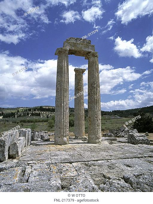 Old ruins of building on landscape