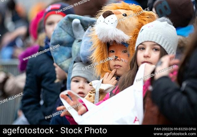 22 February 2020, Lower Saxony, Osnabrück: Carnivalists dressed as lions stand at the roadside waiting for camels at the traditional carnival parade...
