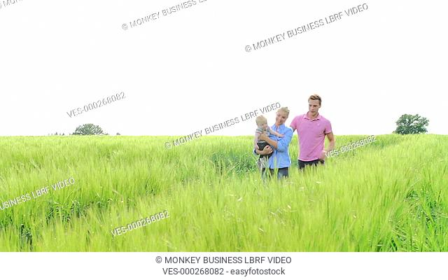 Family walking through field in countryside carrying young son.Shot on Sony FS700 in PAL format at a frame rate of 25fps