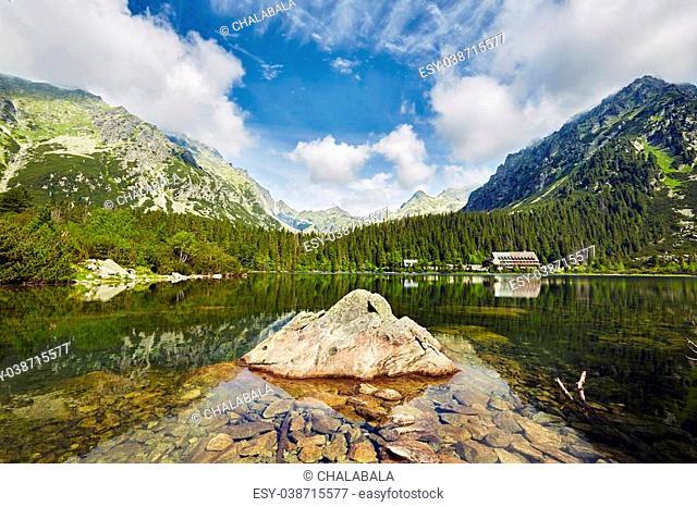 Mountain lake in National Park High Tatras. Popradske pleso, Slovakia