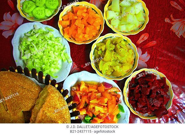 Food: Moroccan salads, Fes, Morocco