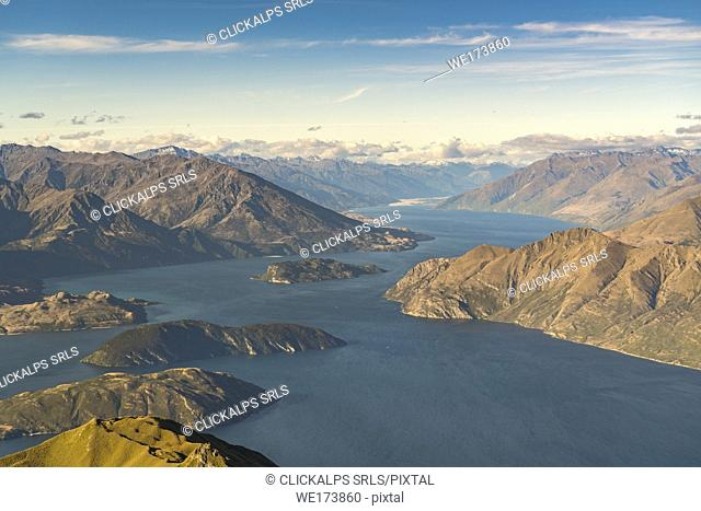 Lake Wanaka from Roys Peak. Wanaka, Queenstown Lakes district, Otago region, South Island, New Zealand