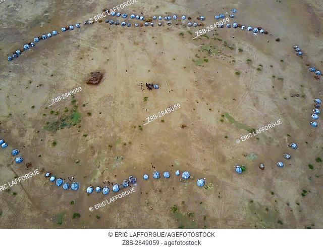 Aerial view of the village built for the dimi ceremony in the Dassanech tribe to celebrate circumcision of teenagers, Omo Valley, Omorate, Ethiopia