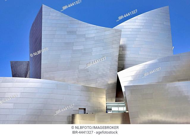 Modern façade, detail, LA Phil, Los Angeles Philharmonic, Walt Disney Concert Hall, architect Frank Gehry, Downtown, Los Angeles, California, USA