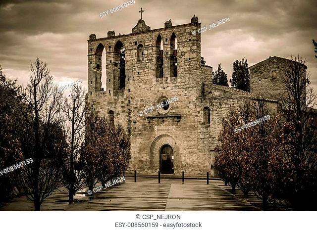 Church in Peratallada town, Costa Brava, Spain