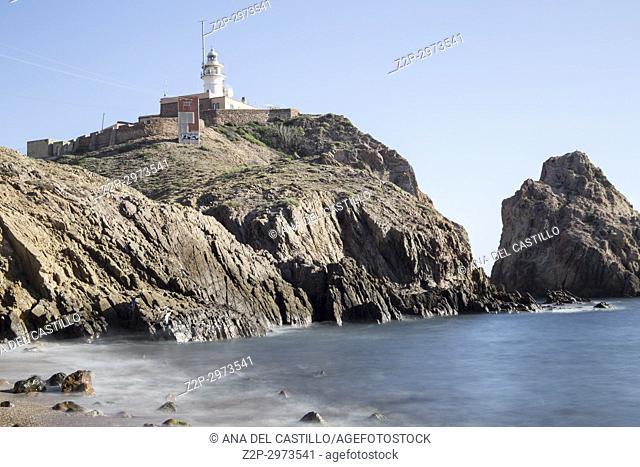 Volcanic coast near Cabo de Gata lighthouse, Almeria, Andalusia, Spain