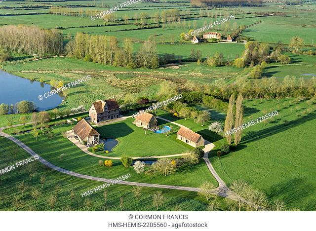 France, Calvados, Notre Dame d'Estrees, beautiful Normandy property (aerial view)