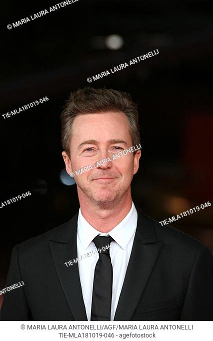 The director and actor Edward Norton during the red carpet of film Motherless Brooklyn at the 14th Rome Film Festival, Rome, ITALY-17-10-2019