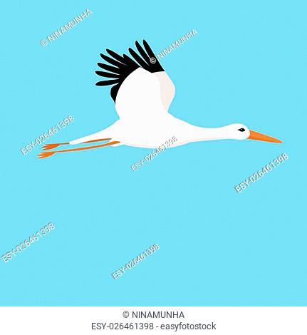 flying stork on a blue background vector illustration