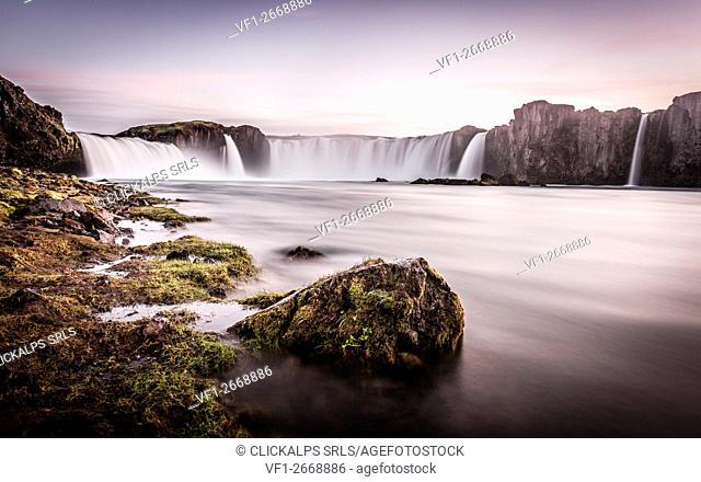 Iceland, Godafoss Waterfall at sunset