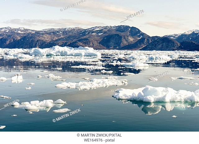 Icebergs in the Uummannaq fjord system in the north of west greenland. America, North America, Greenland, Denmark