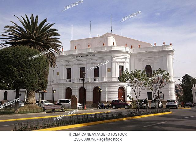 View to the Teatro Gran Mariscal Sucre at the historic center, Sucre, Chuquisaca Department, Bolivia, South America