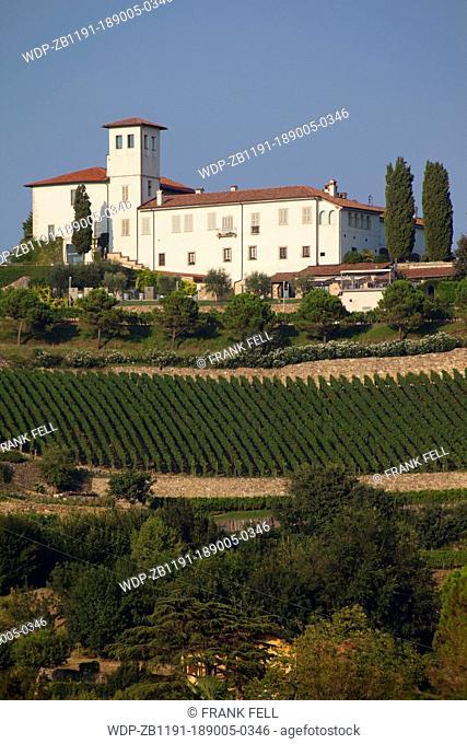 Italy, Lombardy, Bergamo, Chateau & Vineyard near Bergamo