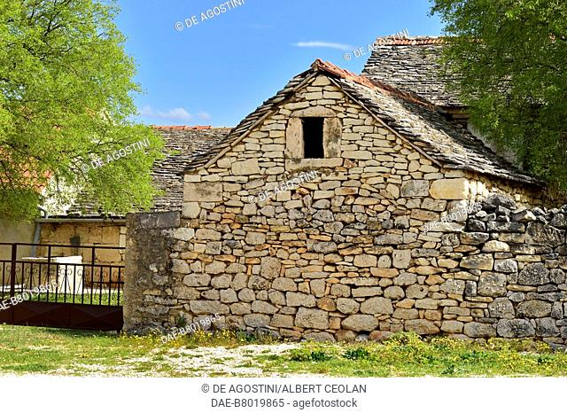 Traditional stone house, Roski Slap, Krka National Park, Croatia