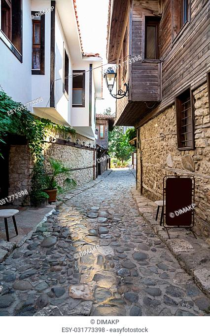 historically narrow street with stone houses
