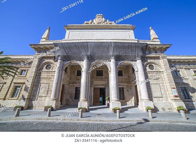 Casa de Iberoamerica building, former Royal Jail of Cadiz, Andalusia, Spain. Facade