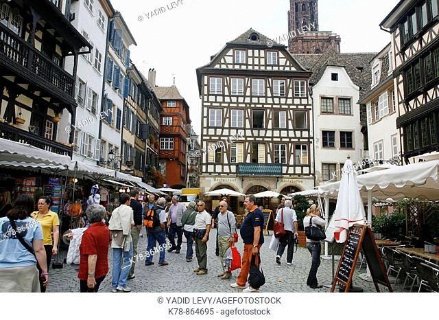 Sep 2008 - Tourists in the old part of Strasbourg, Alsace, France