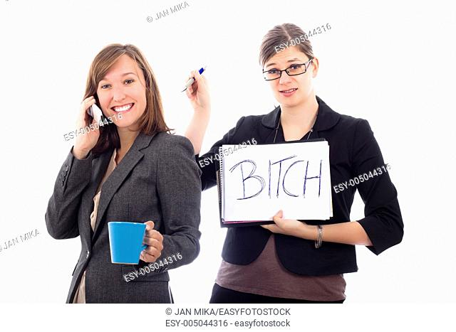 Two business women colleagues competing concept, isolated on white background