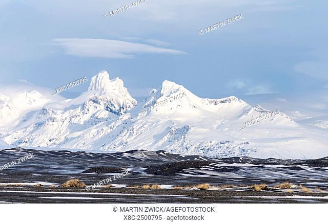 View over the Skeitherarsandur during winter towards snow capped volcano Vatnojoekull. europe, northern europe, iceland, February