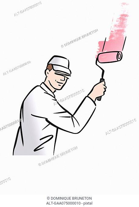 Illustration of house painter