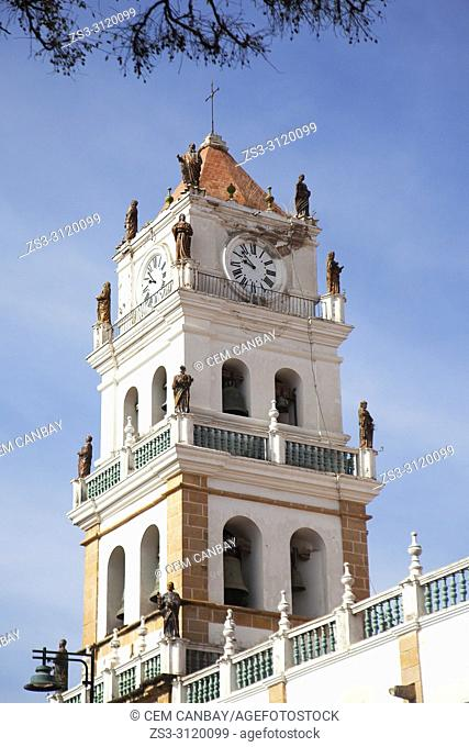 View to the tower of the Metropolitan Cathedral of Sucre-Catedral Metropolitana at the historic center, Sucre, Chuquisaca Department, Bolivia, South America