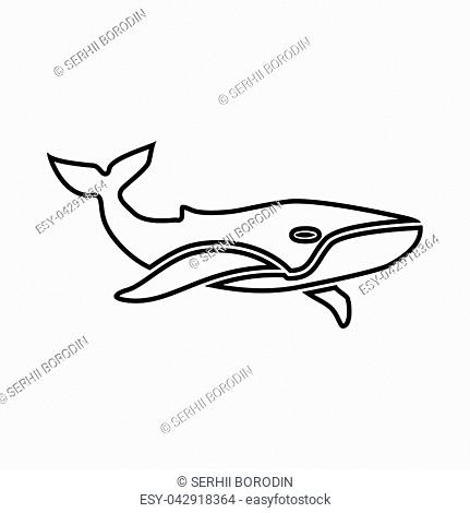 Whale it is black icon . Flat style