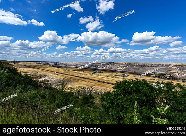 Garzweiler, Germany. The Gartzweiler Brown Coal Open Pit Mine fuelles an Electrical Power Plant, but is considered to exhaust to much carbon and CO2