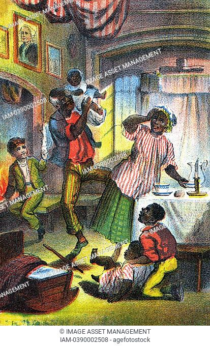 Harriet Beecher Stowe 'Uncle Tom's Cabin' first published 1852  Scene in Uncle Tom's happy home where 'Mas'r George' has come to give Tom an illegal reading and...