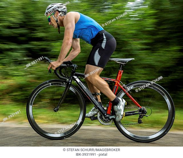 Triathlete, 45 years, cycling, Kaisersträßle road, Baden-Württemberg, Germany