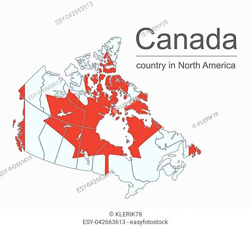 Canada map with provinces and flag, vector illustration