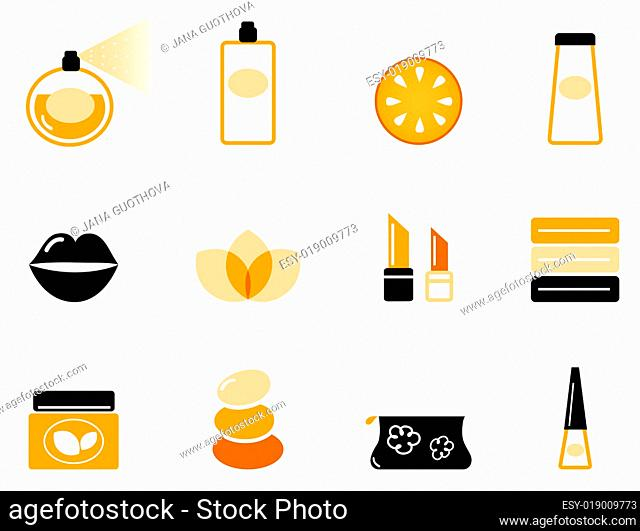 Luxury cosmetics and wellness icon set ( orange &amp black )