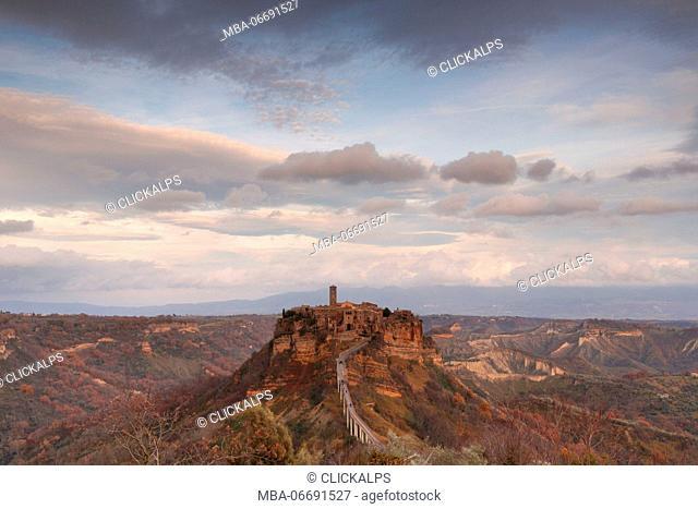 Europe,Italy,Lazio,Viterbo district. Civita of Bagnoregio at sunset
