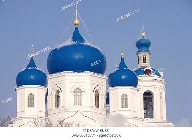 Russia - Golden Ring - Bogolyubovo. The domes of the Cathedral of the Nativity of the Virgin (1866). UNESCO World Heritage List, 1992