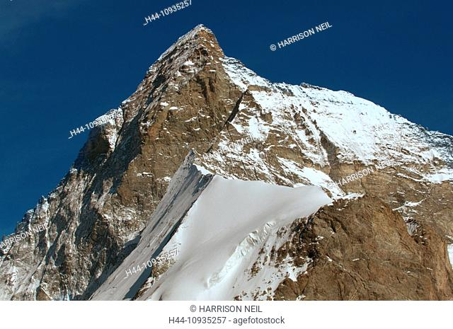 The summit and west face of the legendary Matterhorm in the swiss alps above Zermatt