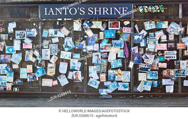 Ianto's Shrine, Mermaid Quay, Cardiff Bay, Cardiff, Wales, United Kingdom. Memorial to fictional character killed off in the 3rd series of Torchwood