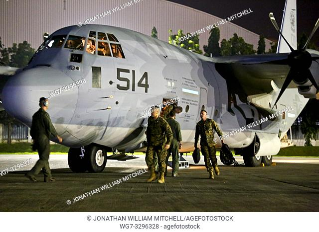 PHILIPPINES Villamor Air Base -- 10 Nov 2013 -- Approximately 80 U. S. Marines from the 3rd Marine Expeditionary Brigade arrive at Villamor Air Base