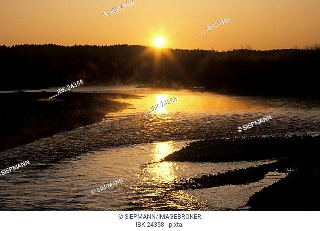 Isar river in Pupplinger Au Wolfratshausen Bavaria Germany