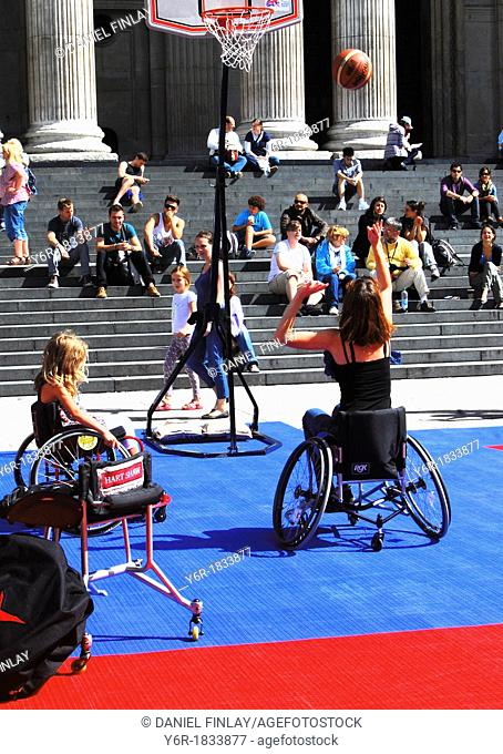Wheelchair basketball exhibition in front of St  Paul's Cathedral, London, England, on a Sunday afternoon during the 2012 Paralympics period