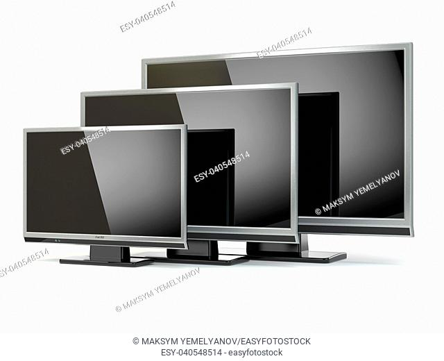 TV flat screen lcd or plasma isolated on white. . Digital broadcasting television. 3d