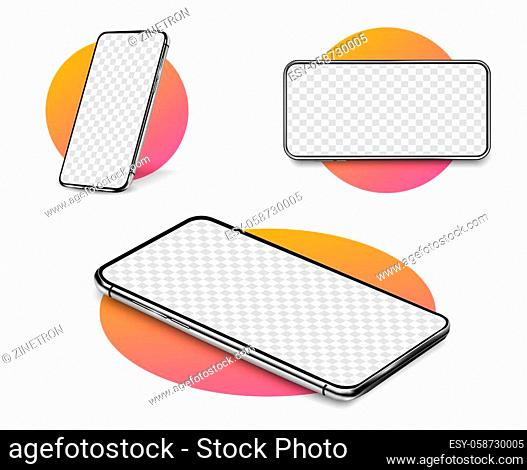 Smartphone mockup. Realistic Cellphone with blank white screen, modern mobile phone in different angles of view. Template for infographics or presentation 3D...