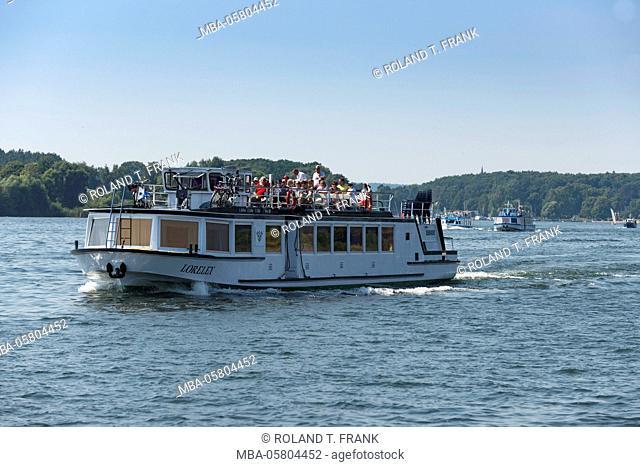Germany, Mecklenburg-Western Pomerania, Mecklenburg lakeland, boats on the Fleesensee