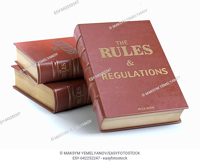 Rules and regulations books with official instructions and directions of organization or team isolated on white background. 3d illustration