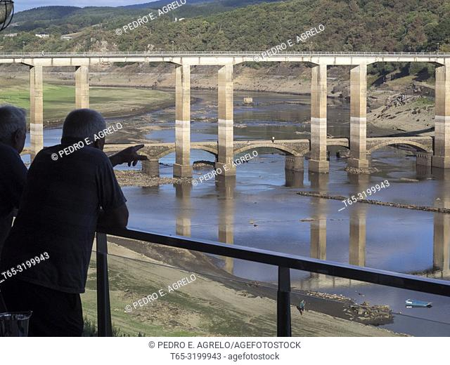 Portomarin, Lugo. The low water level due to the drought allows to see some ruins of the old town flooded in the 60s, when the Belesar reservoir was built