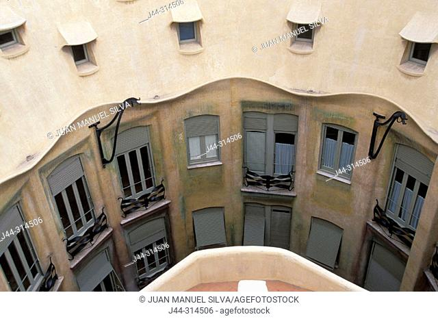 View on the facade of inner courtyard from the rooftop, La Pedrera (Milà House 1906-1912, by Gaudí). Barcelona. Spain