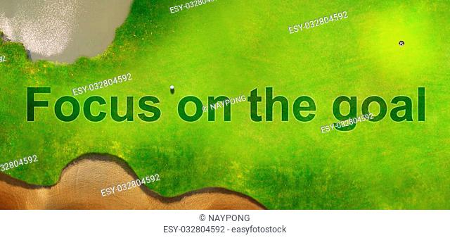 Focus on the goal on Aerial view of Golf course