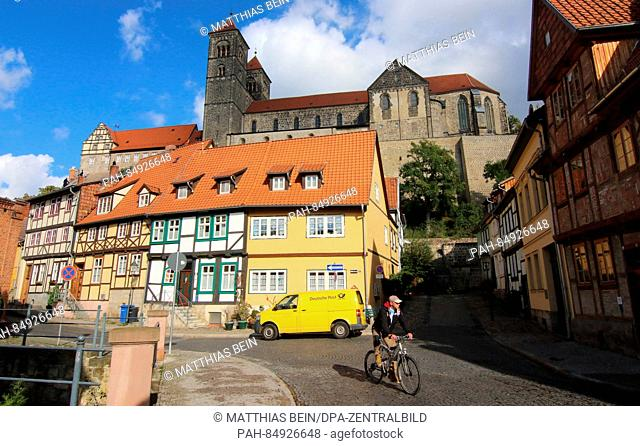 The collegiate church St. Servatius in Quedlinburg, Germany, 18 October 2016. Pillar fragments from the Romanesque are currently scientifically examined in the...